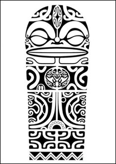 Polynesian shoulder tattoo design with Marquesan crosses, tiki faces and shark teeth.