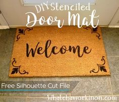 "DIY a ""Welcome"" door mat with a Silhouette stencil. DIY a ""Welcome"" door mat with a Silhouette stencil. Silhouette Curio, Silhouette Cameo Projects, Vinyl Crafts, Vinyl Projects, Easy Diy Projects, Circuit Projects, Project Ideas, Stencil Rug, Stencils"