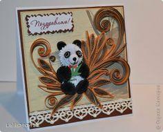 Открытка День рождения Квиллинг Еще открыточка с медвежонком Бумажные полосы фото 1