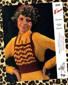 Items similar to PDF Vintage Womens Ladies Tank Top Crochet Pattern GROOVY Bibbed Emu 2948 Boho Medieval Hipster Sex Kitten Festival Glam Disco Hippy on Etsy 70s Inspired Fashion, 70s Fashion, Fashion Styles, Vintage Crochet Patterns, Vintage Knitting, Knitting Patterns, Knit Crochet, Crochet Tops, Hippie Chick