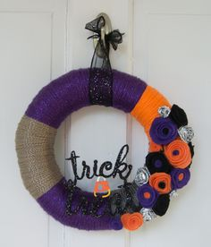 "10"" Halloween Purple, Orange, Grey and Black Wrapped Wreath with Felt Flowers Glitter Embellishment Trick Or Treat by TheQuillery on Etsy"