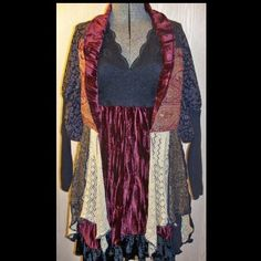 Upcycled Dress Duster Hippie Glittery Velvet Brocade Gold Crimson