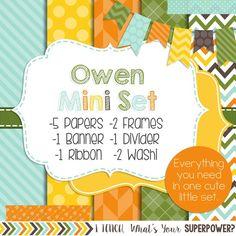 Digital Paper and Frame Owen Mini Set. Blue, yellow, orange, and green.