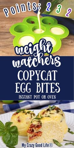 These Weight Watchers Egg Bites are so easy to make in the Instant Pot! Healthier than the Starbuck's Sous Vide egg bites, these are great for meal prep and on-the-go breakfasts! Just 2 Blue Points Healthy Egg Recipes, Green Egg Recipes, Healthy Grilling Recipes, Egg Recipes For Breakfast, Breakfast On The Go, Ww Recipes, Vegetarian Barbecue, Tailgating Recipes, Vegan Grilling