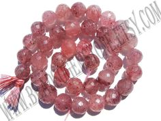 B Quality Strawberry Quartz Russian Beads, Round Beads Faceted, (9.50 to 10.50), STRA-012, Semiprecious Gemstone beads, Craft Supplies by beadsogemstone on Etsy