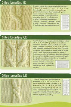 16 twisted ratings - Melissa JUIF - - 16 cotes a torsades twisted dimensions twisted dimensions fractionsades) twisted dimensions - Knitting Stiches, Cable Knitting, Crochet Motif, Knit Crochet, Diy Clothes, Needlework, Knitting Patterns, Stitch, Sewing