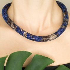 Blue and gold-copper thick rope mesh necklace by TubesJewelry on Etsy #necklace #thick #rope #blue #gold #copper #navy #royal #snake #mesh #crochet #choker #statement #magnetic #assessories #bold #tube #beads #handmade #etsy