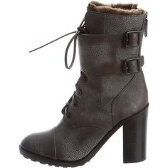 Pre-owned Tory Burch Shearling Combat Boots ($195) ❤ liked on Polyvore featuring shoes, boots, grey, lace up boots, grey boots, combat boots, military lace up boots and grey lace up boots