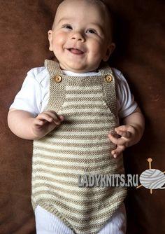 Вязаный спицами боди на подтяжках для малыша от рождения до 1 года, описание: