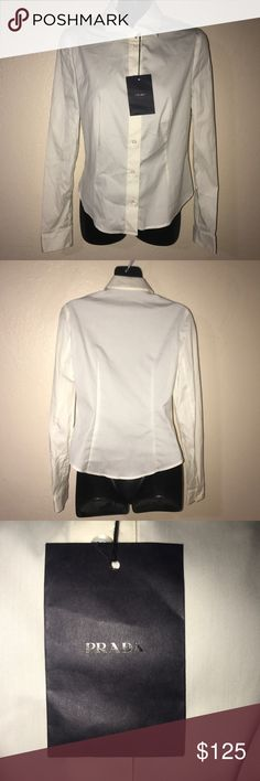 PRADA Camicia in Popeline Stretch Bianco Womens Prada's Camicia in Popeline Stretch in the colour Bianco. Women's button down. Marked as size 42. Classic fit. Made of 72% cotton, 23% nylon, and 5% elastane. Made in Italy. Prada Tops Button Down Shirts