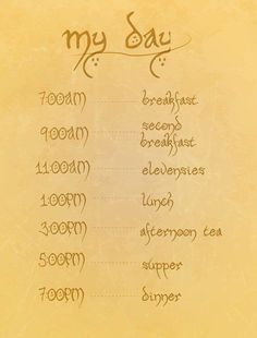 Eating schedule of a hobbit. or a pregnant woman! I love LOTR! Lotr, Hobbit Tolkien, O Hobbit, Hobbit Hole, Hobbit Funny, Hobbit Humor, Hobbit Quotes, Tolkien Quotes, Legolas