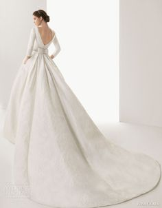rosa clara 2014 bridal caceres silk brocade ball gown wedding dress sleeves watteau train -- Rosa Clará 2014 Wedding Dresses