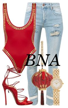 """BNA"" by deborahsauveur ❤ liked on Polyvore featuring Off-White, Norma Kamali, Mary Frances Accessories, Van Cleef & Arpels and Dsquared2"