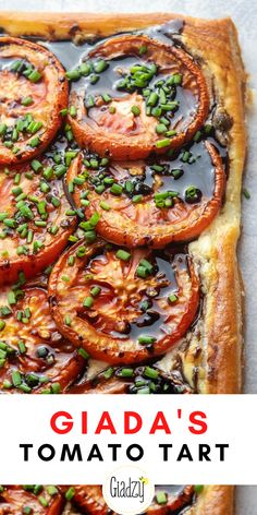 This tart is a really perfect dish to throw together in the summer. Puff pastry makes a flaky, buttery crust that serves as a vehicle to delicious seasonal flavors. A creamy blend of mascarpone, goat cheese and shallots are the base for this tart, and perfectly ripe tomatoes are the star. Giada Recipes, Tart Recipes, Appetizer Recipes, Cooking Recipes, Appetizers, Vegetable Dishes, Vegetable Recipes, Vegetarian Recipes, Healthy Recipes