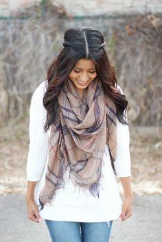 Mocha Plaid Blanket scarf Stylegirl Boutique www.stylegirlboutique.com