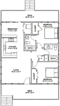 Granny pods with loft 2 Bedroom House Plans, Cottage Floor Plans, Small House Floor Plans, House Plans One Story, Barn House Plans, Cottage House Plans, Craftsman House Plans, Country House Plans, Modern House Plans