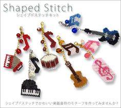 Make shape with MIYUKI Delica beads, shape shaped stitch kit. Music motifs are cute!
