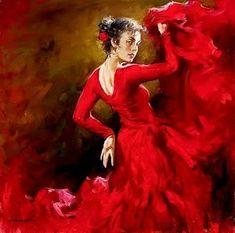 Hand Painted Oil on Canvas Spanish Flamenco Dancer Painting Crimson Dancer by Andrew Atroshenko Figure Painting Arts Work Dance Paintings, Paintings For Sale, Art Expo, Arte Latina, Spanish Dancer, Spanish Gypsy, Spanish Woman, Spanish Class, Arte Popular