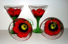 These are beautiful and fun martini glasses painted by me as a poppy flower.They are a set of 4 8 1/2 oz. glasses. I painted them with