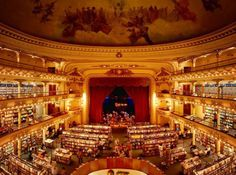 In Buenos Aires, you can find heaven for bookworms: a 100-year-old theatre renovated into a glorious bookstore. Named by The Guardian as the second most be