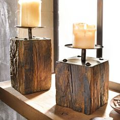 Wood candle holders. Maybe try to make them!