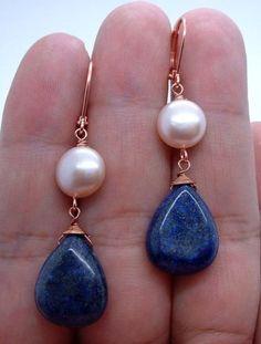 Pretty Blue Lapis Lazuli W. Pink FWP Copper Earrings - Leverbacks | Joias, bijuterias e relógios, Bijuteria, Brincos | eBay!