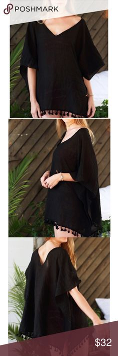 Black Lightweight V Neck Cover Up Black Lightweight V Neck Cover Up with Tassel trim details. One size fits most. 100% Viscose. Other colors also available B Chic Boutique Swim Coverups