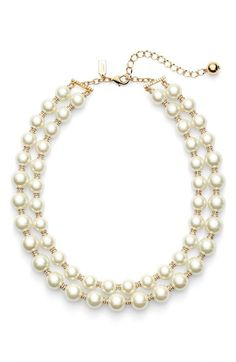 Free shipping and returns on kate spade new york 'pearls of wisdom' double strand faux pearl necklace at Nordstrom.com. Glistening gold-plated beads covered in sparkling crystals space satiny glass pearls in a double-strand necklace that makes a supremely pretty party-ready statement.