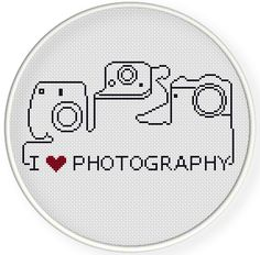 INSTANT DOWNLOAD,Free shippingCounted Cross-Stitch PDF,I love photography, I love camera,zxxc0641