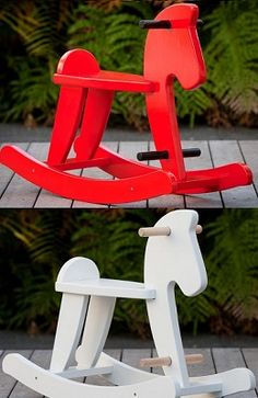 Child's Rocking Horse - Red and White-rocking horse, wooden rocking horse, childrens rocking horse, baby toy, Mocka rocking horse,