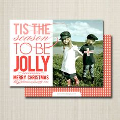 photo christmas card - jolly ombre.