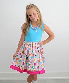 Teal & Fuchsia Owls A-Line Dress - Infant, Toddler & Girls #zulily #zulilyfinds