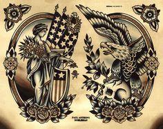 Liberty Tattoo Flash, Eagle Tattoo Flash, Spider Murphy's Tattoo Flash