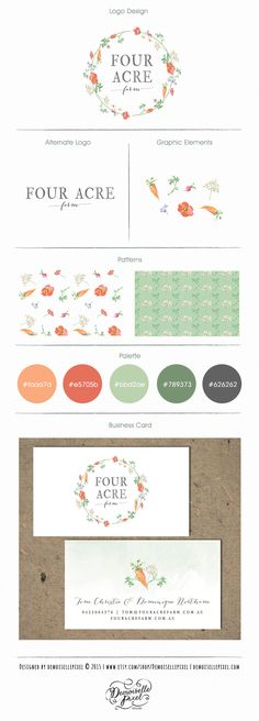 Custom Branding Kit with hand drawn organic vegetables and herbs Brand Identity Package available here: https://www.etsy.com/listing/156334805/custom-brand-identity-package-custom?ref=shop_home_feat_1