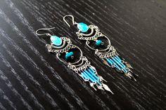 Cute Sky Blue Peruvian Chandelier Earrings - Tribal Earrings, Peruvian Jewelry, Dangle Earrings, Drop Earrings, Tribal Jewelry, Boho Chic