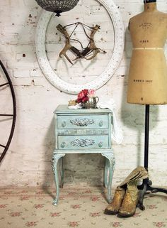 Painted Cottage Chic Shabby Aqua French Night by paintedcottages, $165.00