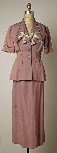 Suit Designer: Bruyère  Date: 1949 Culture: French Medium: eastman's koda filament estron yarn, teca estron staple Accession Number: C.I.50.21.5a–c