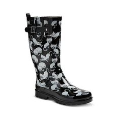 Women's Western Chief Casual Cats Print Rain Boots ($40) ❤ liked on  Polyvore featuring