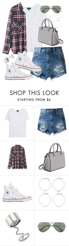 """""""Outfit for summer"""" by ferned ❤ liked on Polyvore featuring MANGO, Dondup, WithChic, MICHAEL Michael Kors, Converse, Forever 21, Elizabeth and James and Ray-Ban"""