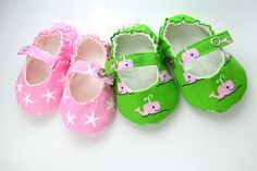 Preppy Baby Girl Shoes, Pink and Green Whale Baby Mary Jane Shoes with Ivory Lining, Toddler Mary Janes, Baby Ballet Flats. $25.00, via Etsy.