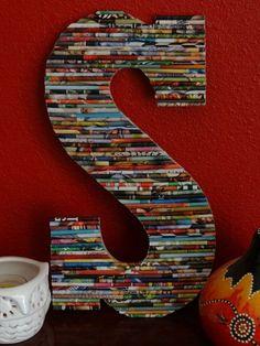 Gerolltes Papier Art Large Letters an www. Recycled Magazine Crafts, Recycled Magazines, Old Magazines, Recycled Crafts, Newspaper Crafts, Book Crafts, Arts And Crafts, Rolled Magazine Art, Crafts To Make
