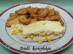 Mustáros csirkemell kukoricás sajttal sütve Okra, Meat, Chicken, Recipes, Food, Gumbo, Essen, Meals, Eten