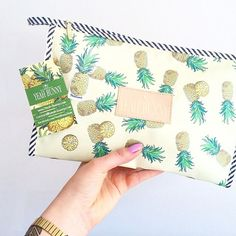 Pineapple printed canvas zip pouch