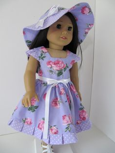 Summer Dress and Hat for 18 Inch Doll by blinkersoh on Etsy