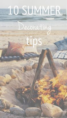 10 summer decorating tips for inside the home. Fresh layered colors, bright whites and beach inspired texture give inspiration whether you're redecorating rooms for the season or furnishing a summer home.