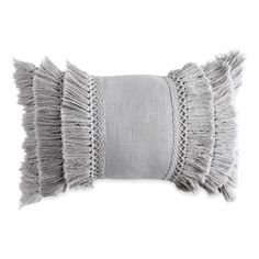 Peri Home Fringe Pillow featuring polyvore, home, home decor, throw pillows, grey, vintage home decor, vintage throw pillows, grey throw pillows, fringed throw pillows and gray accent pillows