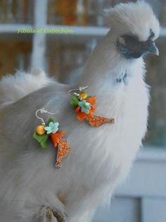 Boucles d'oreilles pendantes romantiques et bohèmes fleuries - Fleurs - Palets - Oiseaux - Multicolores