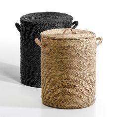 Круглая корзина с крышкой liane серо-бежевый Am.Pm. | купить в интернет-магазине La Redoute