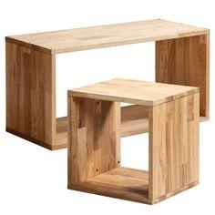 Table basse et bout de canapé à partir d'un cube de rangement chêne Box, 2 modèles, Am.Pm