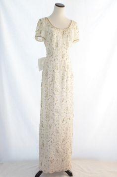 Mori Lee Wedding Dress / Vintage Wedding Dress // Sheath  Wedding Dress // Beaded Wedding Dress // Short Sleeves Wedding Dress / White Dress by CoolMintMoon on Etsy